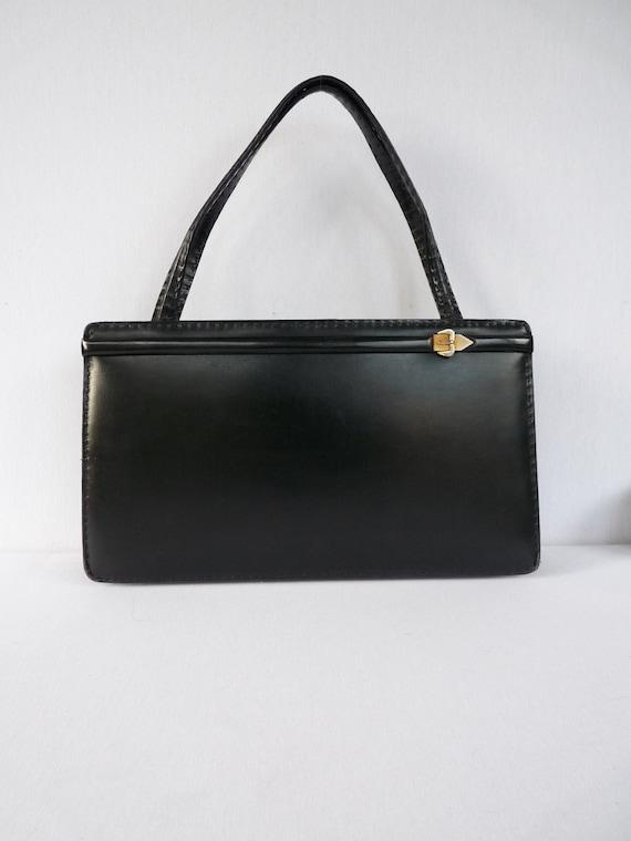 Vintage 70/'s Black Buckle Bag