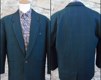 Mans Green plaid check over size jacket mans vintage jacket made by Sergio Landi size small/medium
