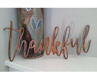 "Rustic-Raw Metal-Industrial-14"" long x 6"" tall Thankful Metal signs-Gift idea,Thanksgiving,Wedding, Home Décor, Holidays,Farmhouse Style"