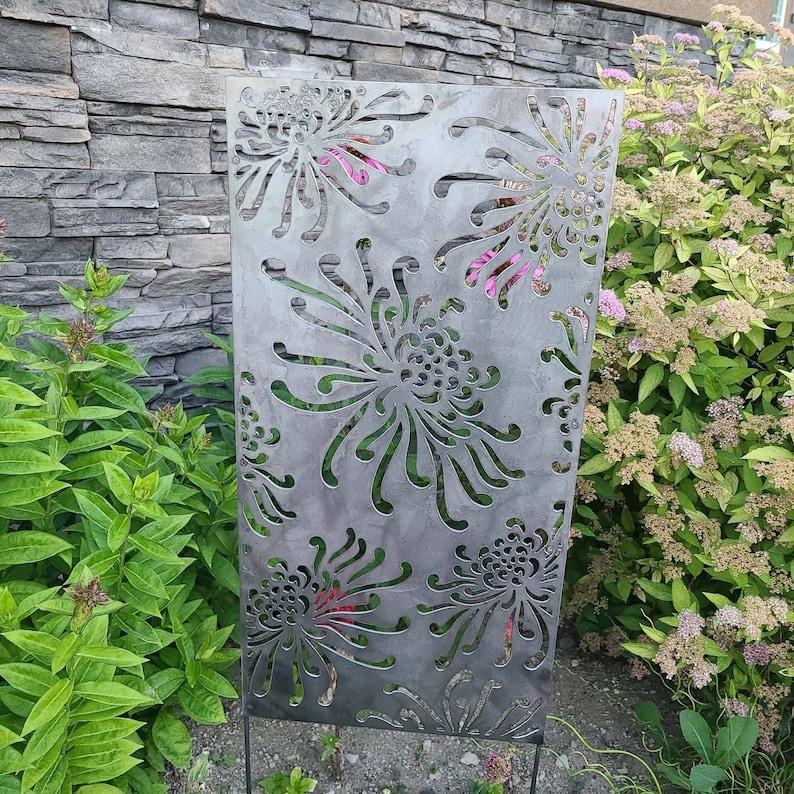 Metal Privacy Screen Garden Panel Flowers Flower Wall Art ...