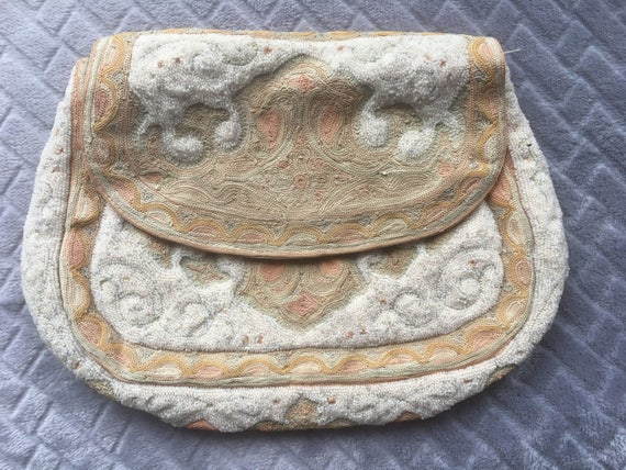 Vintage French Embroidery Beaded Purse/Handbag/Ant