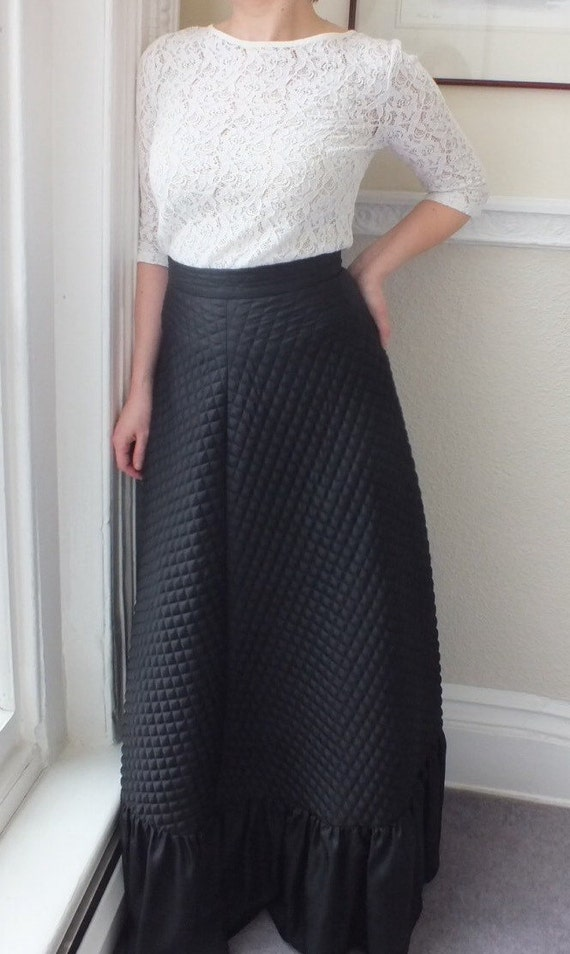 Vintage Black Quilted Maxi Skirt -  Long  A-line S