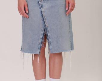 Blue Denim Midi Skirt/ Golub.udp / Made from Vintage Denim