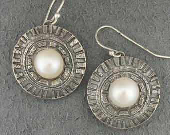 Cultured Freshwater Pearl Earrings- Real Pearl Jewelry- Freshwater Pearl Earrings Sterling Silver- Freshwater Pearl Dangle Earrings- 10mm