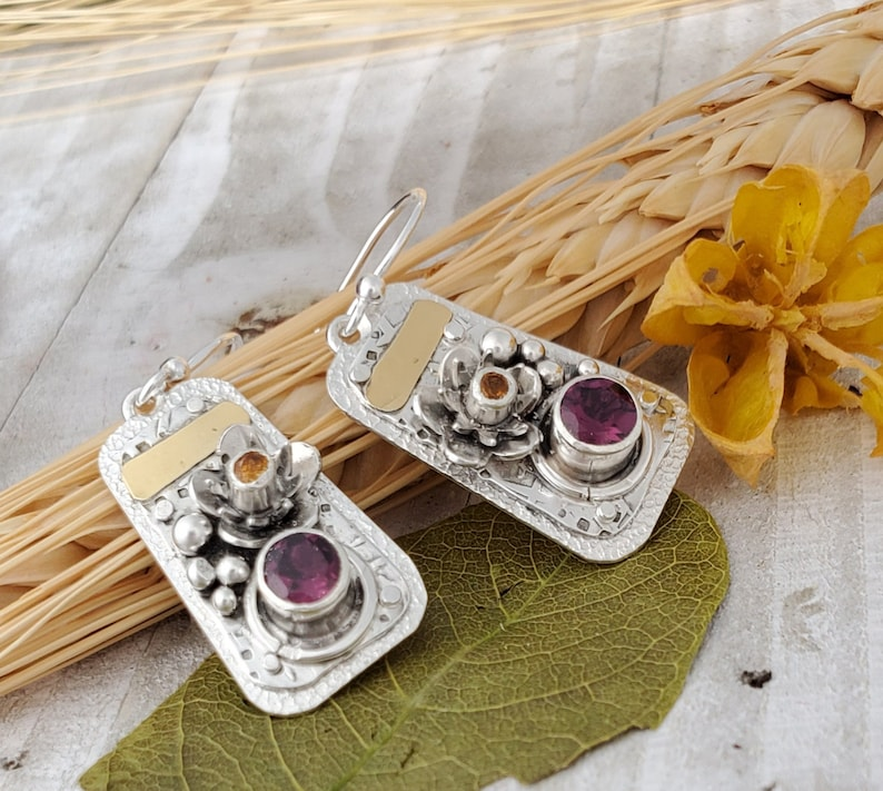 Rhodolite Garnet 22k gold Earrings January Birthstone Jewelry Pink Garnet Dangle Earrings Sterling Silver