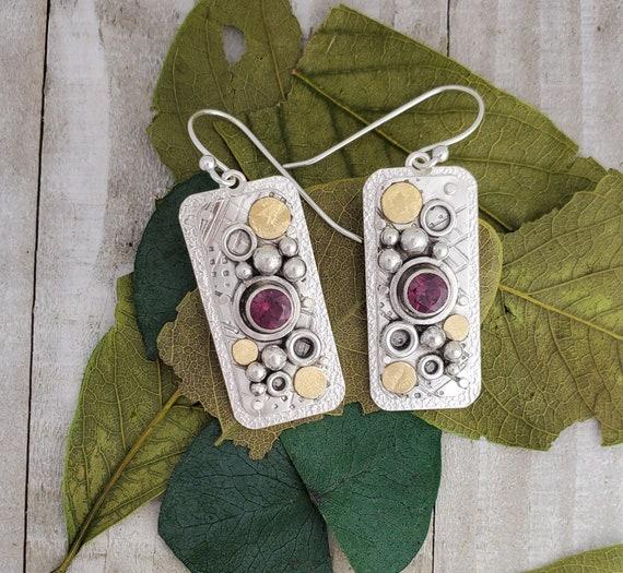 Rhodolite Garnet 22k gold Earrings, Pink Garnet Dangle Earrings Sterling Silver, January Birthstone Jewelry