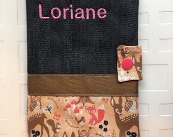 EMBROIDERED Vaccination record cover, Immunisation booklet cover, denim with pockets, fawn owls and foxes pink coral