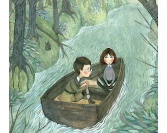 Children's Rowboat on the River - Fine Art Giclée Archival Print
