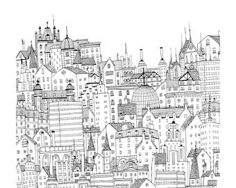 Black and White City - Fine Art Giclée Archival Print