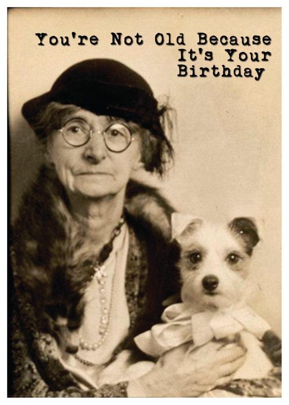 Vintage Photo Of Old Woman Wdog Birthday Card Lesbian Etsy