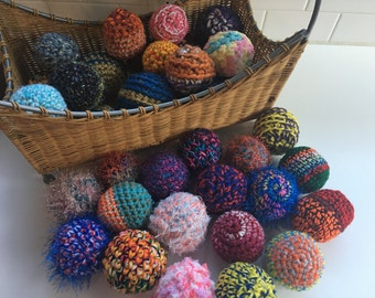 """CUSTOM Crochet """"Bag of Balls"""" Toddler Toy or Baby Fun, Imagination Color Texture FUN, Sensory Stimulation, Learning Toy, Baby Gift, Knit Toy"""