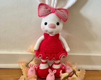 Pretty Bunny amigurumi in pink dress | Easter crochet patterns ... | 270x340