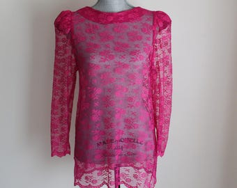 Fuschia Lace Blouse Size Medium Long Cap Sleeves 80s Sheer Pink Shirt Top