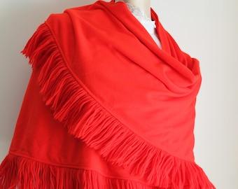 Red Shawl Shoulder Wrap Fringed