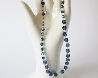 1950s Blue Clear Glass Bead Necklace Adjustable Length Aurora Borealis