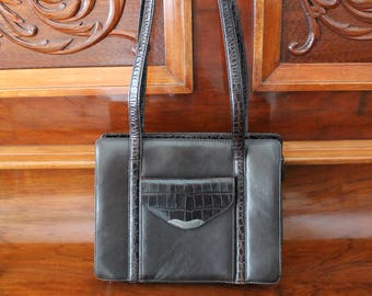 Vintage Ralph Lauren Purse, 90s Brown Leather Shoulder Bag Zipper Top