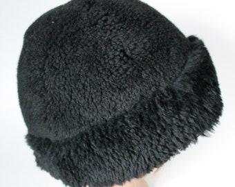 Black Sheepskin Hat, Shearling