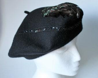 Black beret Old beret Vintage painter beret Bulgarian beret Two Vintage Black Berets Black wool beret Bulgarian black hat