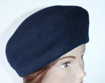 b30172154d96e Navy Blue Wool Tam Brimless Hat Size Medium 1960 s