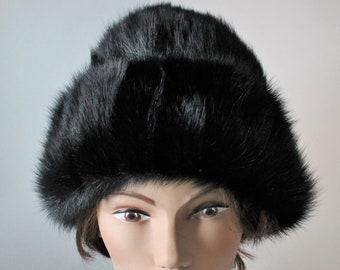 bb0c0b95196 1950 s Black Beaver Fur Hat Brimless Ribbon and Bow