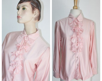 69866de9e4186f 1960's Pink Ruffle Blouse by Donnkenny Size 13 14
