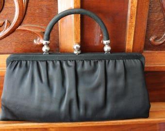 addb3774fc Black Satin Evening Bag Clutch Purse Fold Down Handle 1930 s Formal Bag
