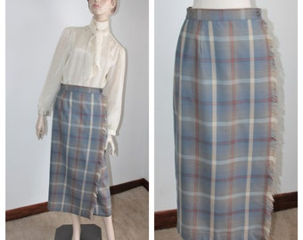 fb37a789a8 Gray Wool Plaid Wrap Around Skirt by Talbots