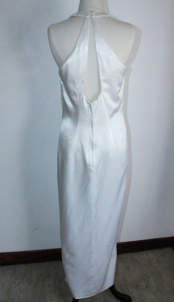 White Satin Sequin Gown by Gunne Sax Size 13 /14 … - image 5