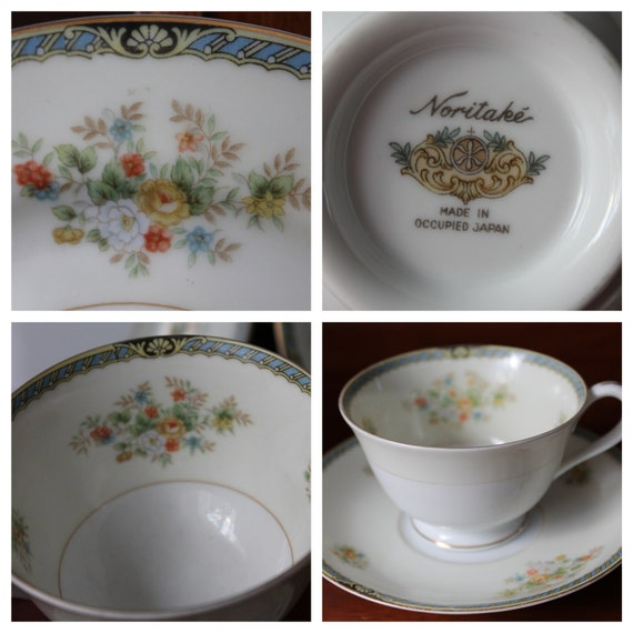 Noritake China Dishes Made in Occupied Japan 1947 Komaru Mark Replacement Pieces Cup Saucer Side Dish White Cream Blue Rim Flowers