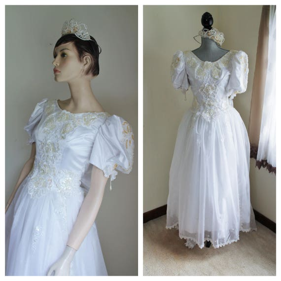Vintage White Wedding Dress and Tiara, 1980s Satin