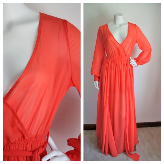 Orange Maxi Dress by Petal Roz, Size Medium, Vinta