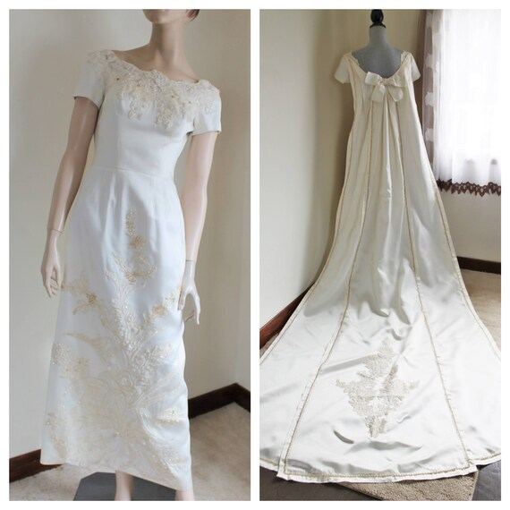1950s Ivory Wedding Dress Detachable Watteau Shoulder Train