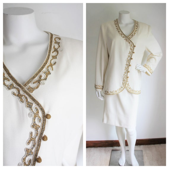 Beaded Skirt Suit by Albert Nipon Evening, Size 16