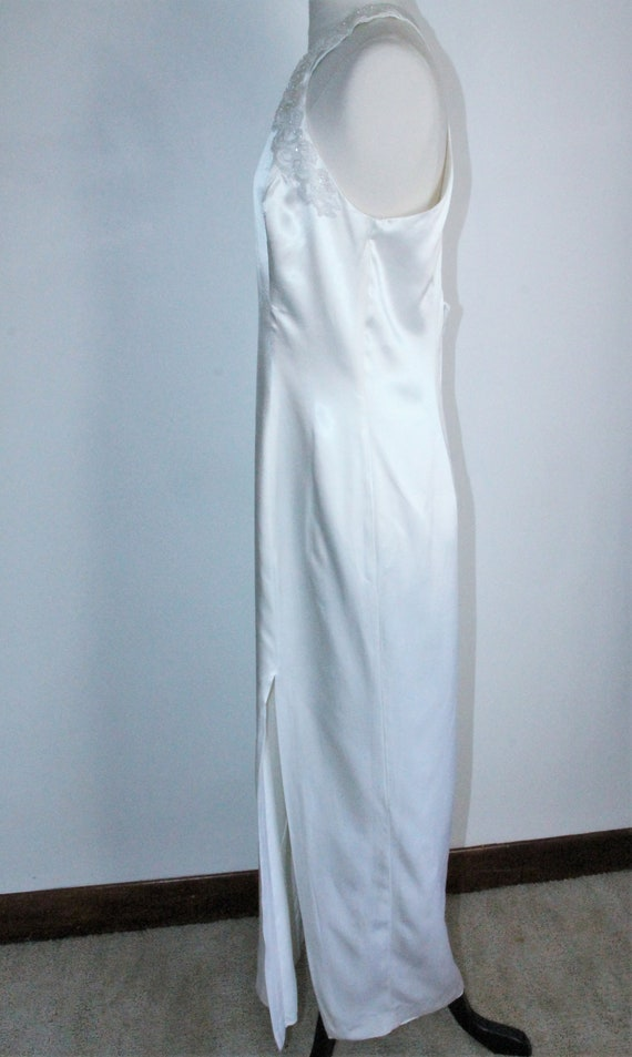 White Satin Sequin Gown by Gunne Sax Size 13 /14 … - image 4