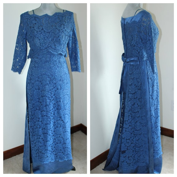 Vintage Blue Lace Satin Formal Gown By Ira Berg Toronto 1960s Etsy