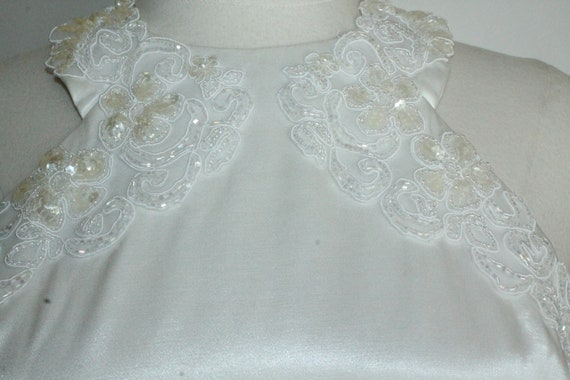 White Satin Sequin Gown by Gunne Sax Size 13 /14 … - image 9