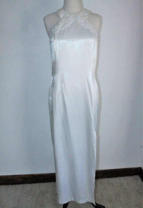 White Satin Sequin Gown by Gunne Sax Size 13 /14 … - image 2
