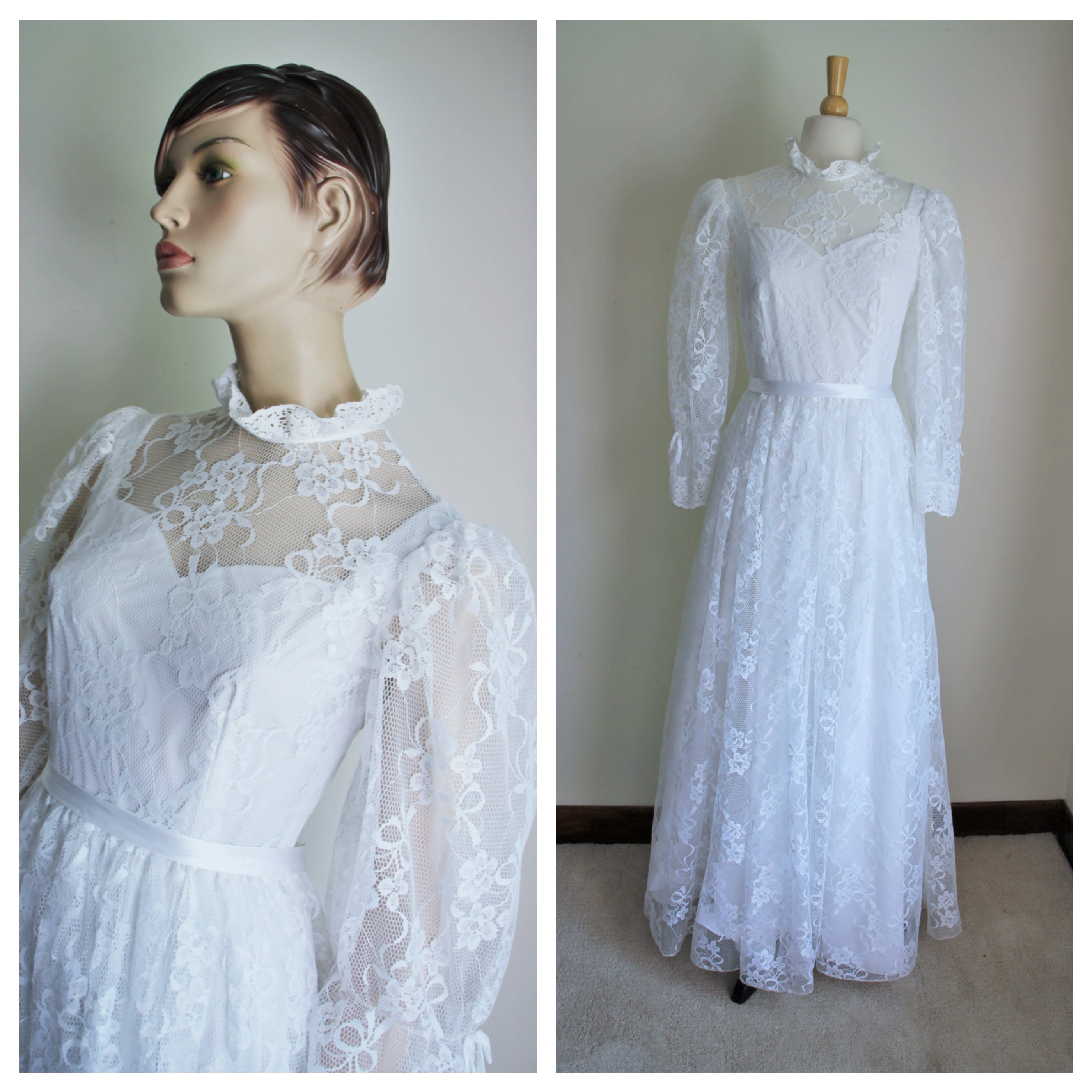 Vintage White Lace Wedding Dress By Prenuptia Paris EU