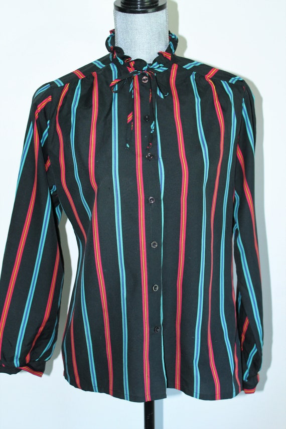 3311acdffc79f Striped Blouse by Judy Bond Size 12 Long Sleeve Ruffle Neck