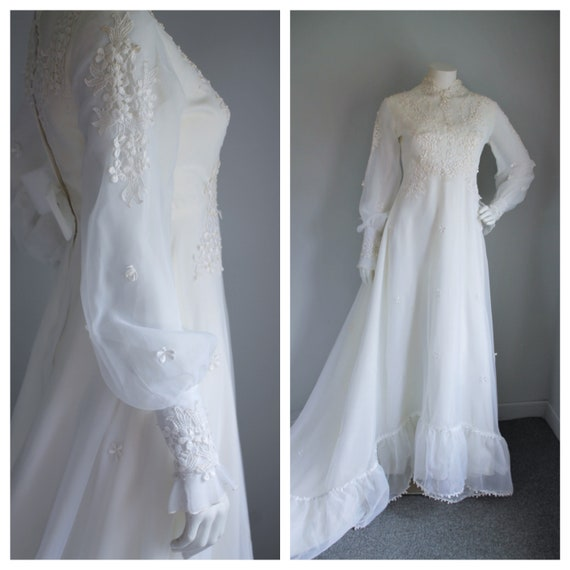 Vintage 60's Wedding Gown with Train, Size Medium