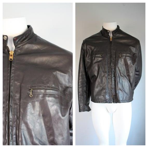 Men's Brown Leather Motorcycle Biker Jacket, Vinta