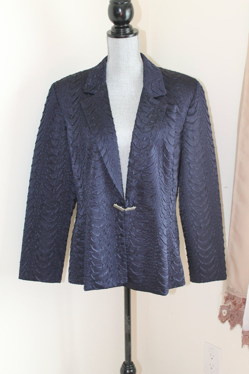 Ruched Fabric Size Large 90s Navy Satin Jacket by Joseph Ribkoff Silver Buckle