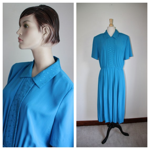 Vintage 80's Blue Dress, Leslie Fay, Size 14