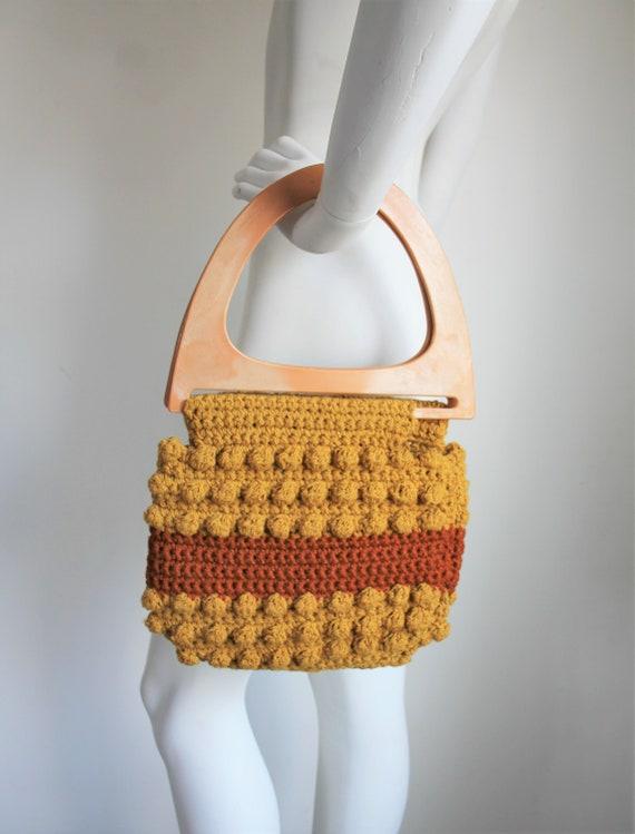 Popcorn Knit Bag, Vintage 1970's