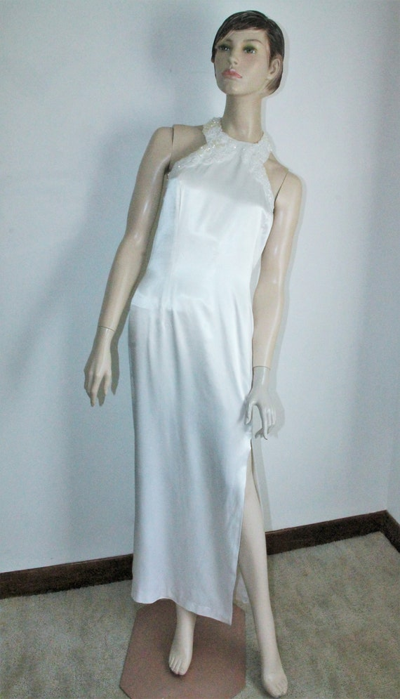 White Satin Sequin Gown by Gunne Sax Size 13 /14 … - image 3