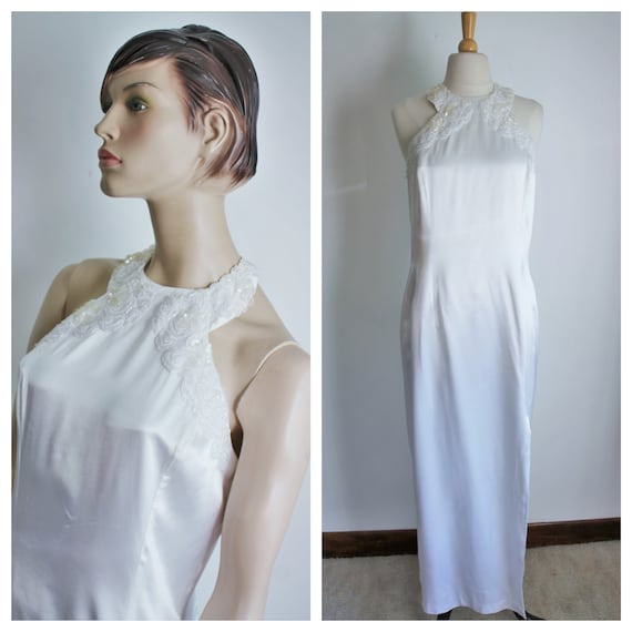 White Satin Sequin Gown by Gunne Sax Size 13 /14 … - image 1