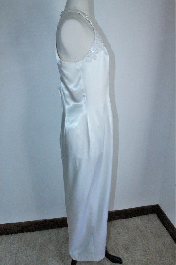 White Satin Sequin Gown by Gunne Sax Size 13 /14 … - image 6