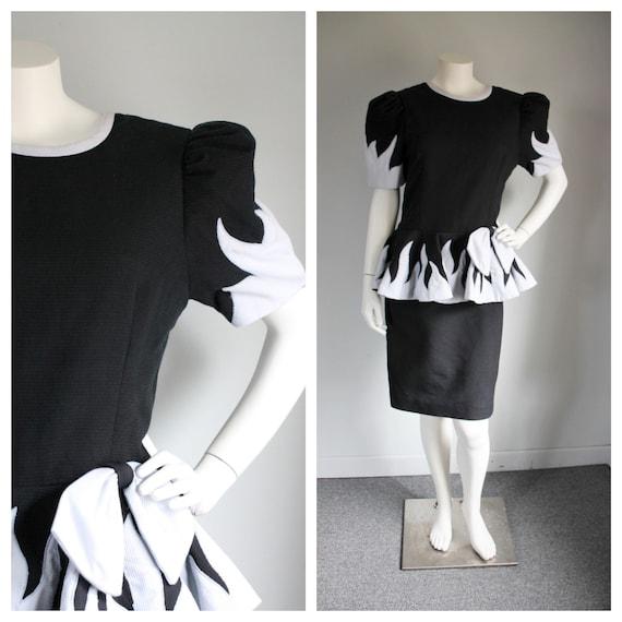 Vintage 1980's Black Flame Dress