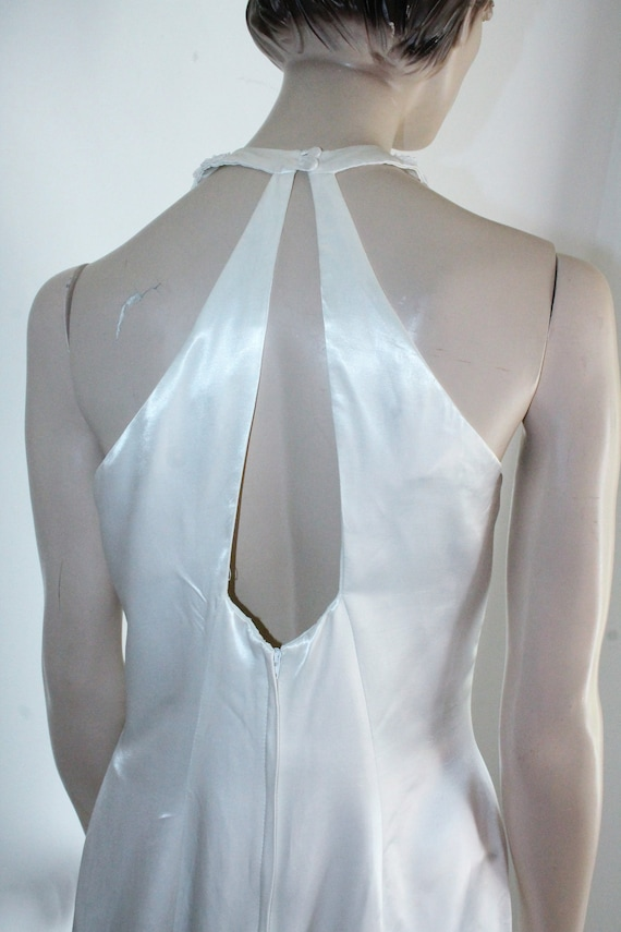 White Satin Sequin Gown by Gunne Sax Size 13 /14 … - image 7