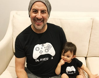 Father Son Matching Shirts XBOX Player 1 Player 2  Father's Day Shirt Idea and Gift Dad and Baby Gaming Shirts Black Shirt and Bodysuit